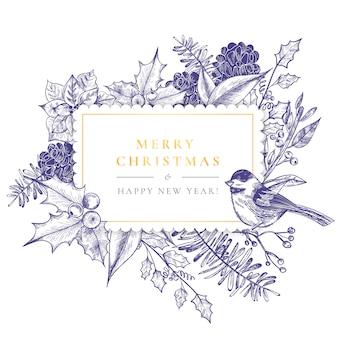 Weinlese-weihnachtsrahmen mit weinlese-natur
