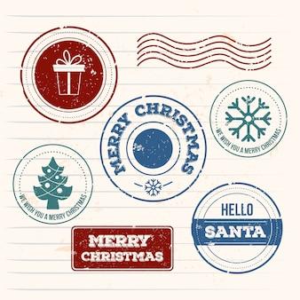 Weinlese-weihnachtsstempel-sammlung