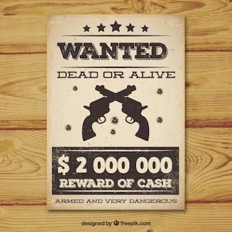 Weinlese wünschte plakat mit zwei pistolen