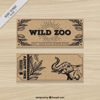 Weinlese-zoo-tickets mit der hand gezeichnet elefanten und blätter