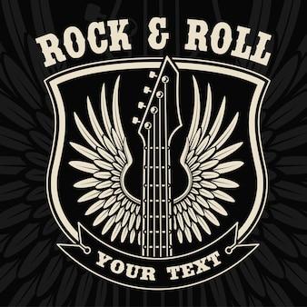 Weinleseabzeichen der gitarre mit flügeln auf dem dunklen hintergrund. text befindet sich in der separaten gruppe.