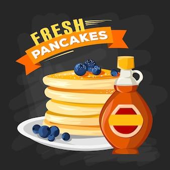 Weinleseart-anzeigenplakat des restaurantfrühstücks mit bratpfannenpfannkuchen