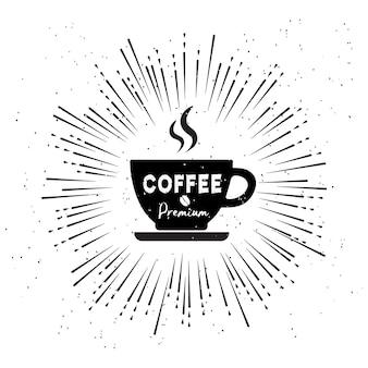 Weinleseart-mode logo der kaffeestube auf weißem hintergrund.
