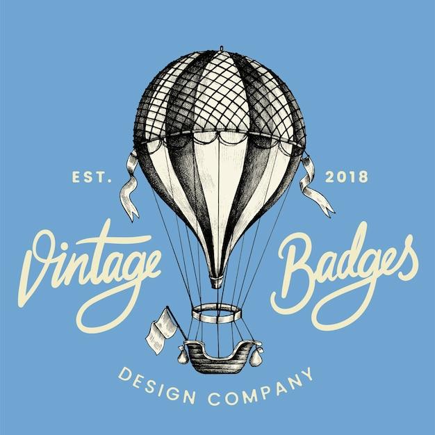 Weinleseballon-logodesignvektor