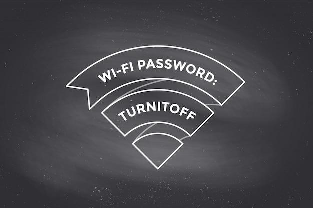 Weinleseband wi-fi-zeichen für freies wi-fi auf tafel