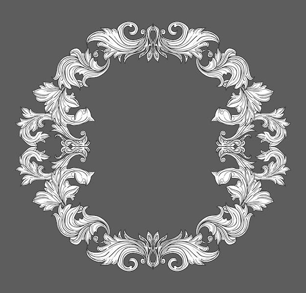Weinlesebarockrahmengrenze mit blattrollenblumenverzierung im linienstil. rahmen blumen, dekorative vintage rahmen, barockrahmen. vektorillustration
