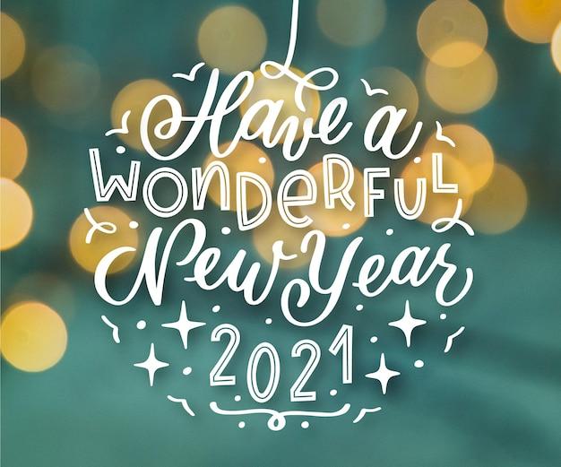Weinlesebeschriftung frohes neues jahr 2021