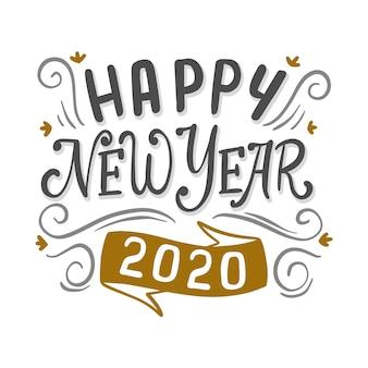 Weinlesebeschriftungsguten rutsch ins neue jahr 2020