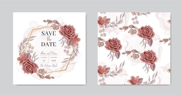Weinleseblumenhochzeitseinladungskarte mit goldrahmen und nahtlosem muster