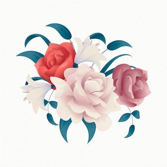 Weinleseblumenstrauß mit bunten rosen