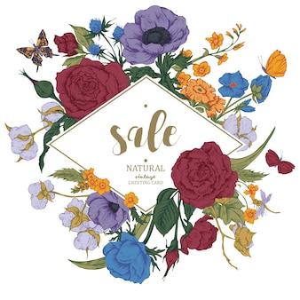 Weinleseblumenvektor-verkaufskarte mit rosen, anemonen und butterf