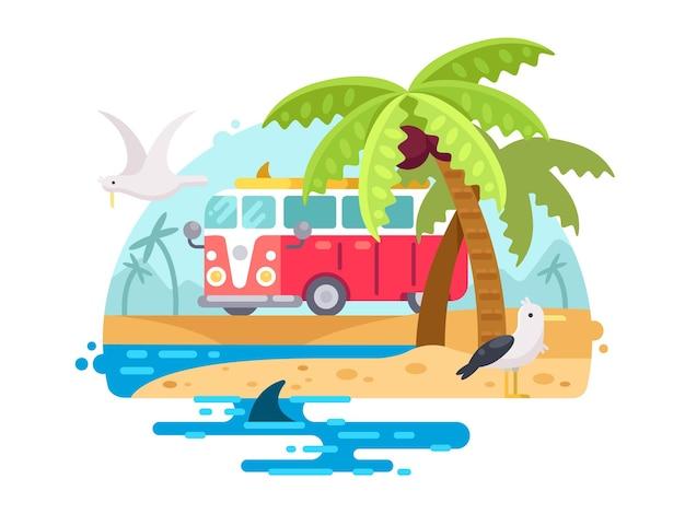 Weinlesebus mit surfbrett am tropischen sandstrand. vektorillustration