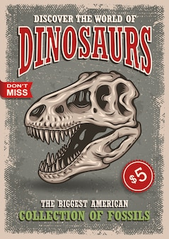 Weinlesedinosaurierplakat mit schädel des tyrannosauriers mit text, abzeichen und schmutzbeschaffenheit. show, ausstellung, park.