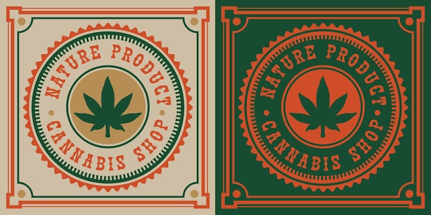 Weinleseemblem des cannabisblatts.
