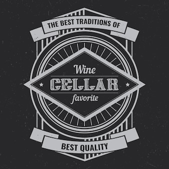 Weinleseetikettentwurf mit beschriftungszusammensetzung auf dunklem hintergrund