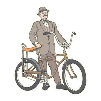 Weinlesefahrrad u. alter mann