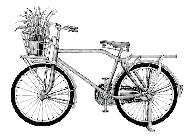 Weinlesefahrrad- und blumentopfhandzeichnung lokalisiert auf weißem hintergrund