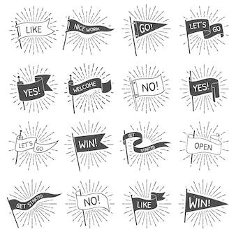 Weinleseflaggenfahne, hand gezeichnetes retro- flaggenwillkommen, lässt blätternfahnen mit lokalisiertem satz der sternexplosion strahlen losgehen und erhalten begonnen