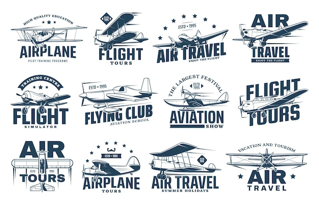 Weinleseflugzeug isolierte ikonen des flugverkehrs