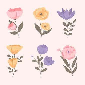 Weinlesefrühlingsblumen-sammlungskonzept