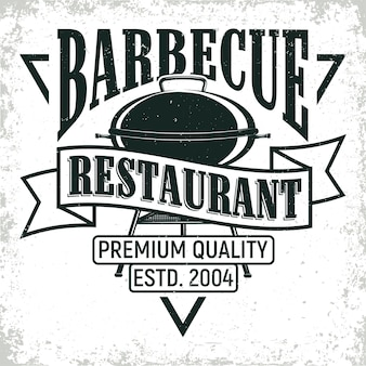 Weinlesegrillrestaurant-logoentwurf, grange-druckstempel, kreatives grillbar-typografie-emblem