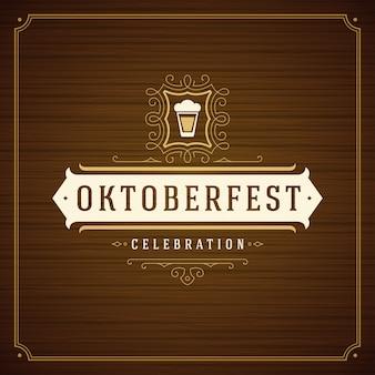 Weinlesegrußkarte oder -plakat der oktoberfest-bierfestivalfeier