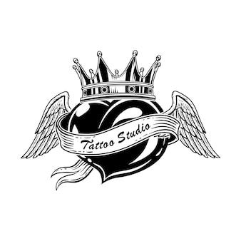 Weinleseherz mit flügelvektorillustration. monochrome skizze des schwarzen herzens, der krone und der engelsflügel
