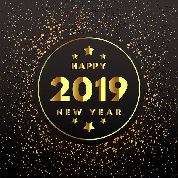 Weinlesehintergrund 2019 des neuen jahres des goldenen kreises
