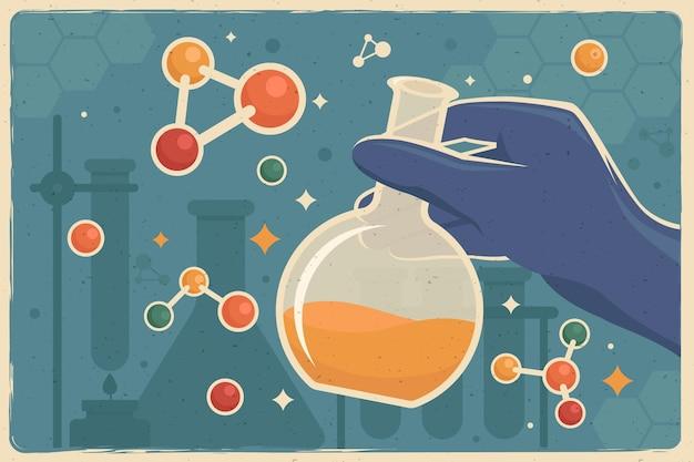 Weinlesehintergrund mit chemischen elementen