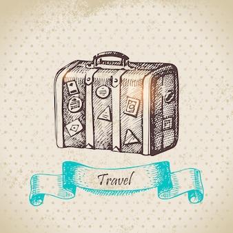 Weinlesehintergrund mit reisekoffer. handgezeichnete abbildung
