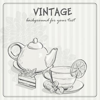 Weinlesehintergrund mit tee und dem torus