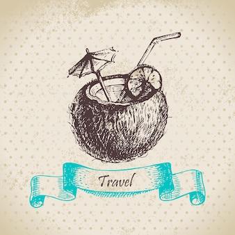 Weinlesehintergrund mit tropischem kokosnusscocktail. handgezeichnete abbildung