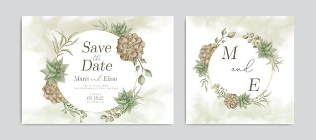 Weinlesehochzeitseinladungskarte mit aquarellblumenrahmen