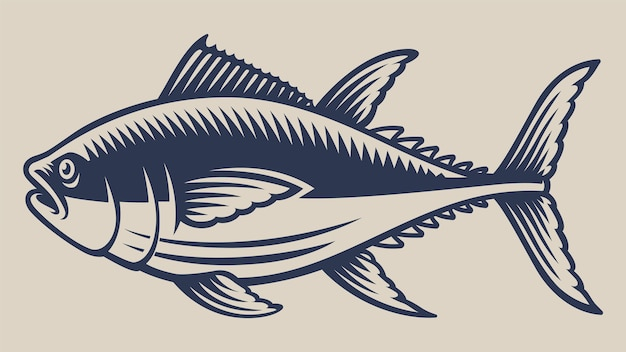 Weinleseillustration mit einem thunfisch auf einem weißen hintergrund.