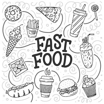 Weinleseillustration mit fast-food-gekritzelelementen und beschriftung auf weiß