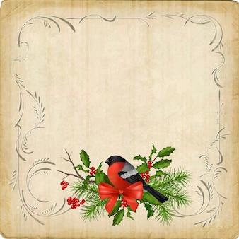 Weinlesekarte mit feiertagszusammensetzung der weihnachtsdekorationen