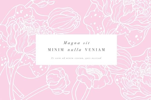 Weinlesekarte mit illustrationsentwurf der seerosenblumen
