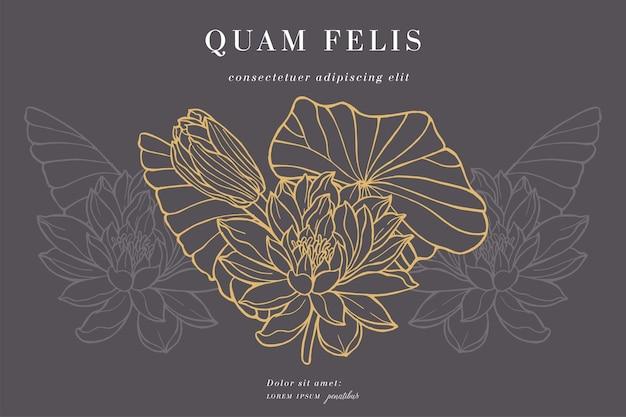 Weinlesekarte mit lotusblumen blumenkranz