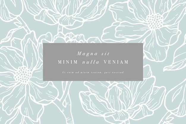 Weinlesekarte mit magnolienblüten. blumenkranz. blumenrahmen für blumenladen mit etikett