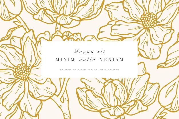 Weinlesekarte mit magnolienblüten. blumenkranz. blumenrahmen für blumenladen mit etikettendesigns. sommerblumenmagnoliengrußkarte. blumenhintergrund für kosmetikverpackungen.