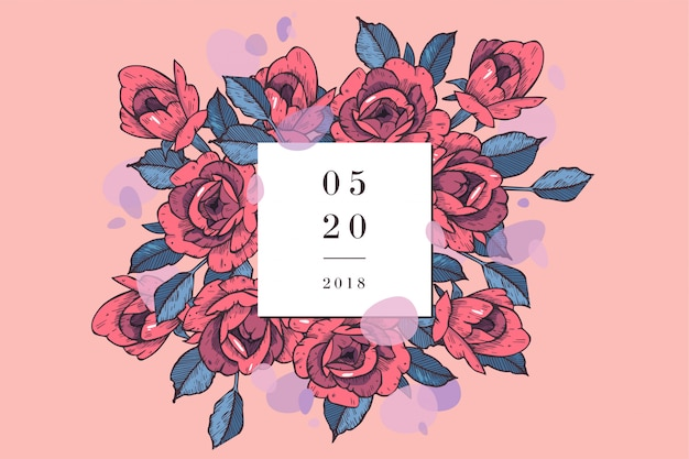 Weinlesekarte mit rosenblüten. blumenkranz. blumenrahmen für hochzeitseinladung. blumenrose grußkarte. blumen hintergrund.