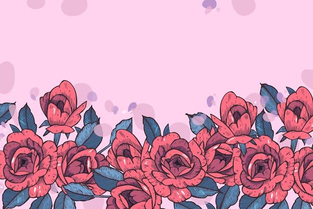 Weinlesekarte mit rosenblüten. blumenkranz. blumenrahmen für hochzeitseinladung. sommerblumenrosengrußkarte. blumen hintergrund.