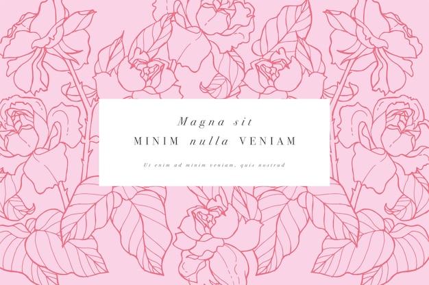 Weinlesekarte mit rosenblüten. blumenkranz.