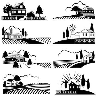 Weinleselandschaftslandschaft mit bauernhofszene. vektorhintergründe in der holzschnittart