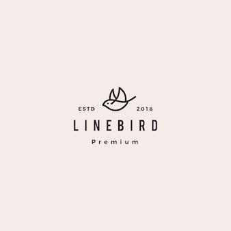 Weinleselinie entwurfsmonoline-ikonenillustration des fliegenvogellogohippies retro