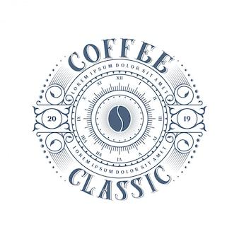 Weinleselogo für kaffeeprodukt oder caféshop