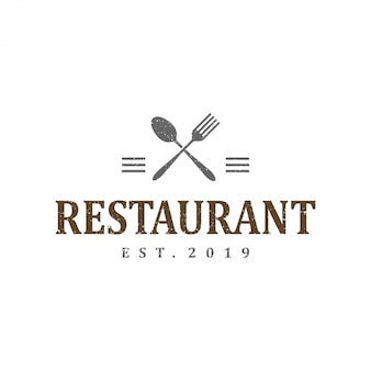 Weinleselogo-schablonendesign für restaurant