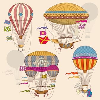 Weinleseluftballonvektorsatz