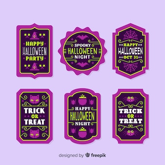 Weinlesemodell für halloween-aufkleber und -ausweis