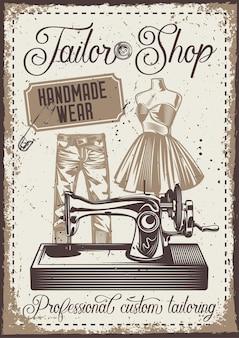 Weinleseplakat mit illustration einer hose, einer schaufensterpuppe und einer nähmaschine